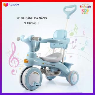 Xe 3 bánh đa năng 3 trong 1 cho bé có đèn và nhạc, Xe đẩy, Xe đạp, Xe chòi chân, An Toàn Cho Bé , An Tâm Cho Mẹ thumbnail