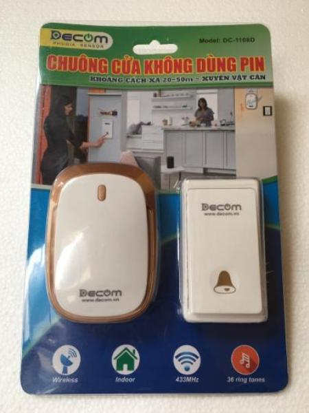 Chuông cửa không dây chống nước, không dùng pin Decom