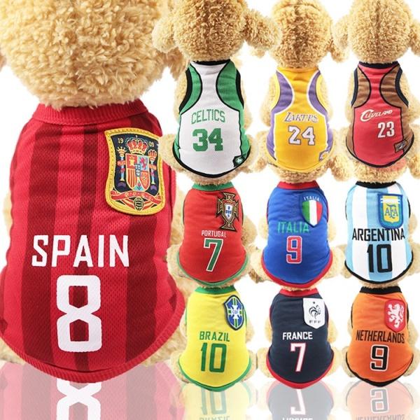 Áo bóng đá dành cho chó mèo, đủ size XS-6XL