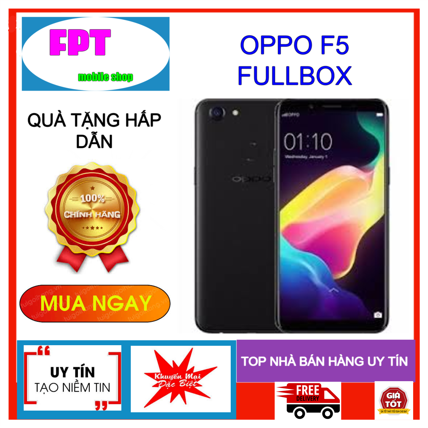 Điện thoại Oppo F5 32GB RAM 4GB FULLBOX - Điều hướng bằng cử chỉ, selfie xóa phông, chia đôi màn hình game mode.