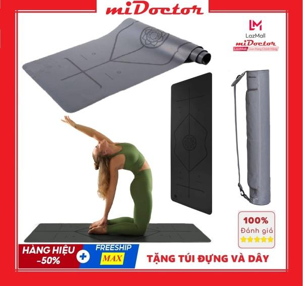 Thảm Tập Yoga Định Tuyến Cao Su PU Cao Cấp Chính Hãng miDoctor Màu Xám + Túi Đựng Thảm Tập Yoga PU Định Tuyến + Dây Buộc Thảm Yoga PU Định Tuyến