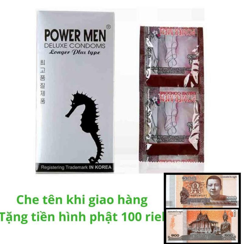 Bao cao su Powermen Longer Plus Gân Gai Siêu kéo dài thời gian - hộp 12 cái - chính hãng 100%