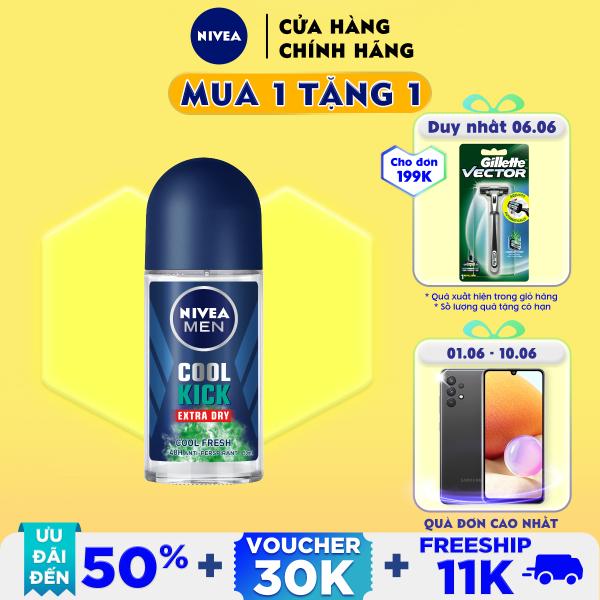 Lăn ngăn mùi NIVEA MEN Cool Kick Mát Lạnh - Thơm sảng khoái (50ml) - 83188 giá rẻ