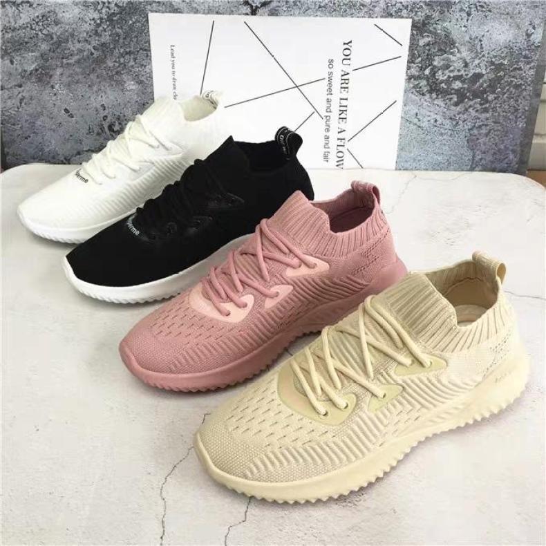 (4 Màu kèm Video) giầy thể thao, giầy sneaker nữ thơi trang hàn quốc màu kem màu hồng màu trắng màu đen chất vải đi êm chân giá rẻ