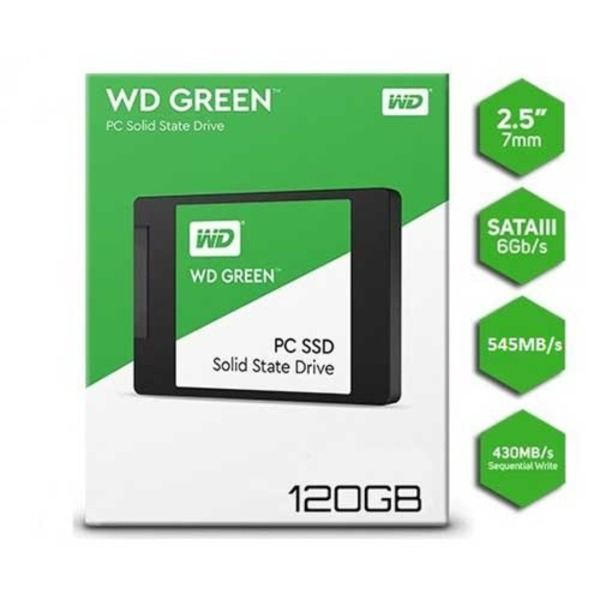 Bảng giá Ổ cứng gắn trong WD Green SSD 120GB 2.5, 7MM, Sata3, Read up to 545MB, Write up to 430MB, up to 37K 63K IOPS, 3Y WTY WDS120G2G0A Phong Vũ