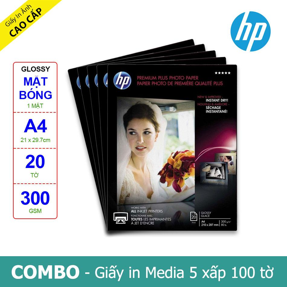 Mua Bộ 5 Xấp Giấy In Ảnh HP Premium Plus Glossy A4 300g 20 Tờ x 5