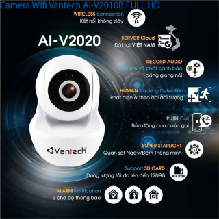 V2010 camera 2.0MP hỗ trợ kết nối WIFI (Vantech), Camera wifi robot Vantech V2010 2.0MEGAPIXEL tích hợp còi báo động, đàm thoại 2 chiều, phát hiện chuyển động thumbnail