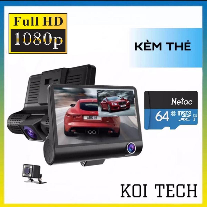 [TẶNG THẺ NHỚ 64GB] Camera hành trình ô tô 3 mắt camera full HD 1080, camera oto sau chống nước , camera trong xe trống chộm , ghi hình khi tắt máy , Tự động ghi hình nếu phát hiện chuyển động