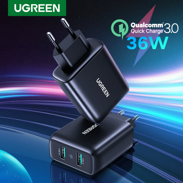 UGREEN EU Plug Dual Quick Charger 3.0 USB Wall Charger Fast Charging for Android iOS Phone and Tablet Black