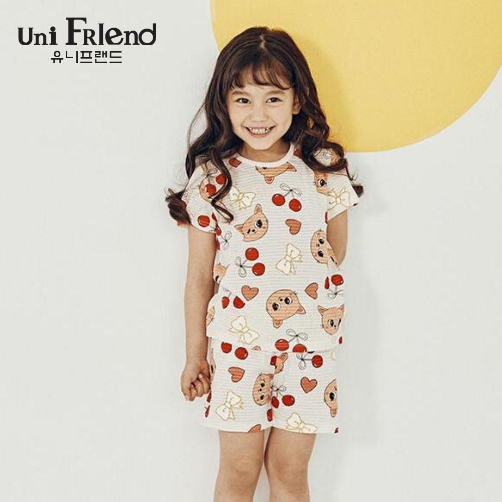 Giá bán Đồ bộ mặc nhà bé gái Unifriend thun ngắn họa tiết cherry U9SSTS15