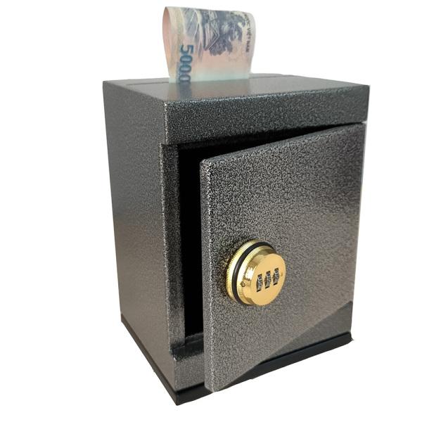 Két sắt mini khóa số không chìa đen tiết kiệm mini safe box black piggy bank