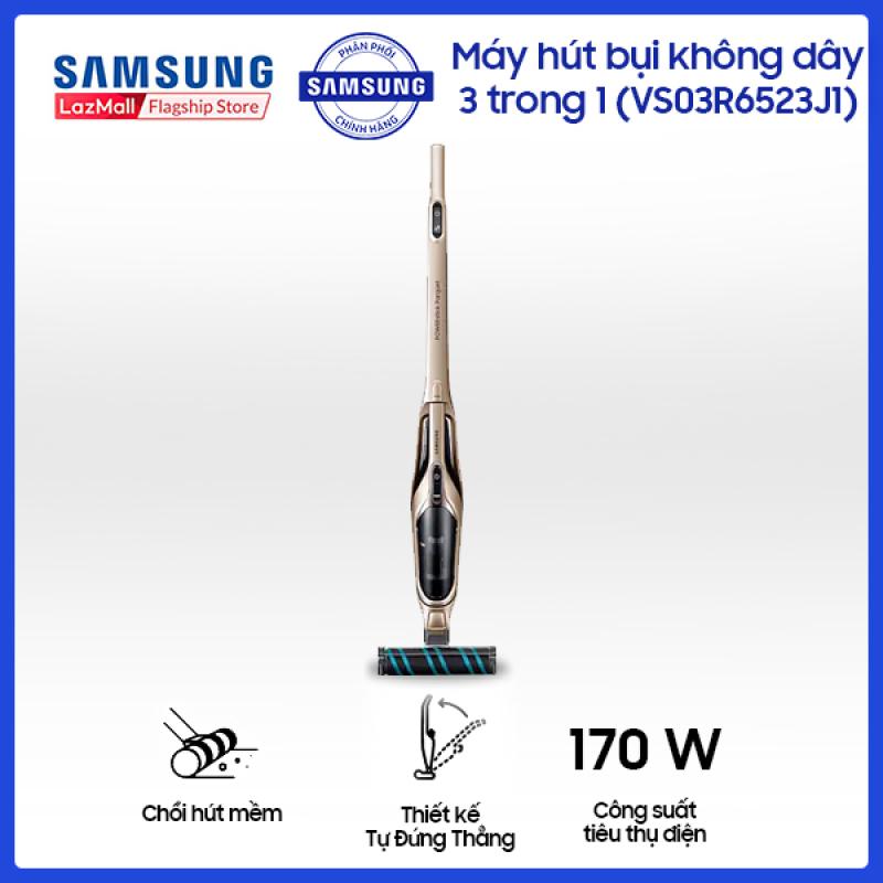 Máy hút bụi Samsung không dây 3 trong 1 (VS03R6523J1/SV) - Công nghệ Cyclone Force lực hút mạnh gấp 3 -Hút bụi linh hoạt 3 trong 1 - Bộ Pin Đi Động 21.6V Hoạt Động Liên Tục 30 phút - Hàng phân phối chính hãng,