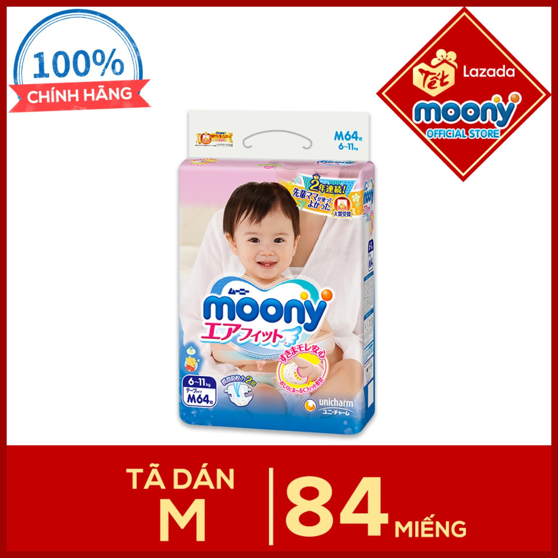 Tã dán Moony M - 64 miếng (6 - 11kg)...