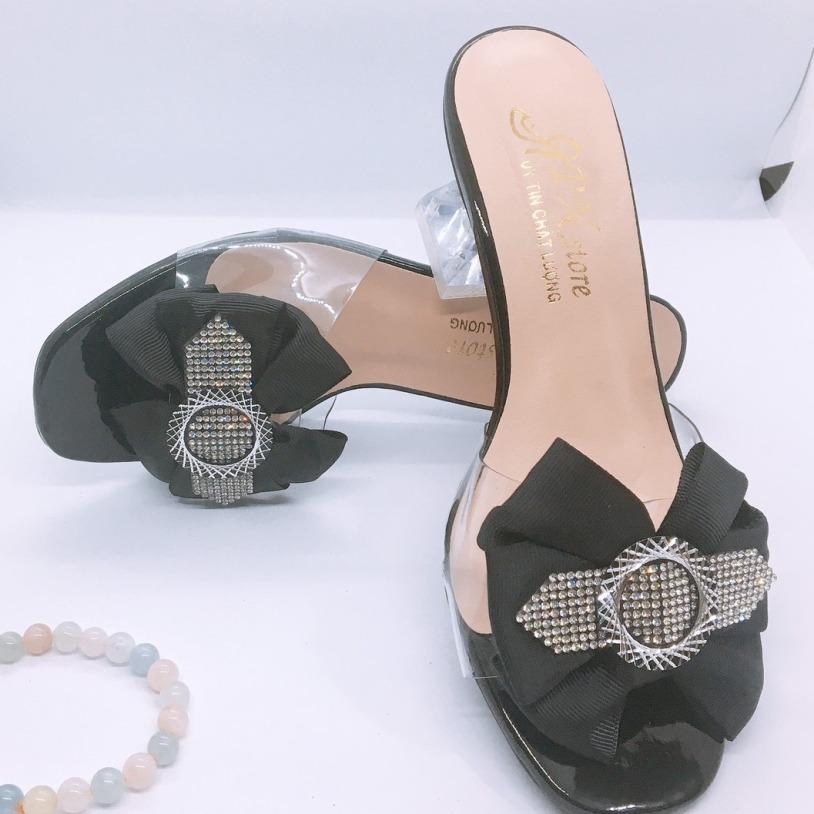 Giày cao gót 5p gót đá cách điệu quay nơ phối xoàn LZ027 màu sắc đa dạng giá rẻ