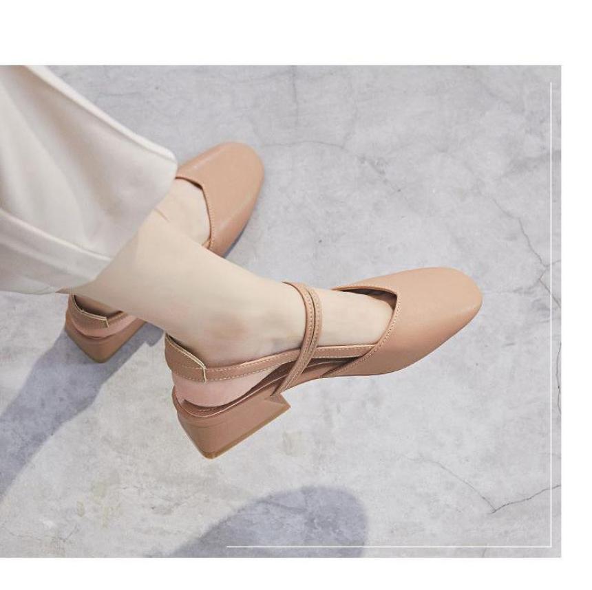Giày búp bê gót vuông quai gài mẫu mới Hàng QC bao đẹp kèm ảnh thật và Clip - Yubistyle PGshoes10N giá rẻ