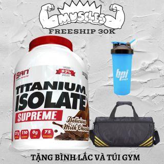 Thực phẩm bổ sung tăng cơ giảm mỡ S.A.N Titanium Whey Isolate Supreme + tặng bình lắc + Túi Gym thumbnail