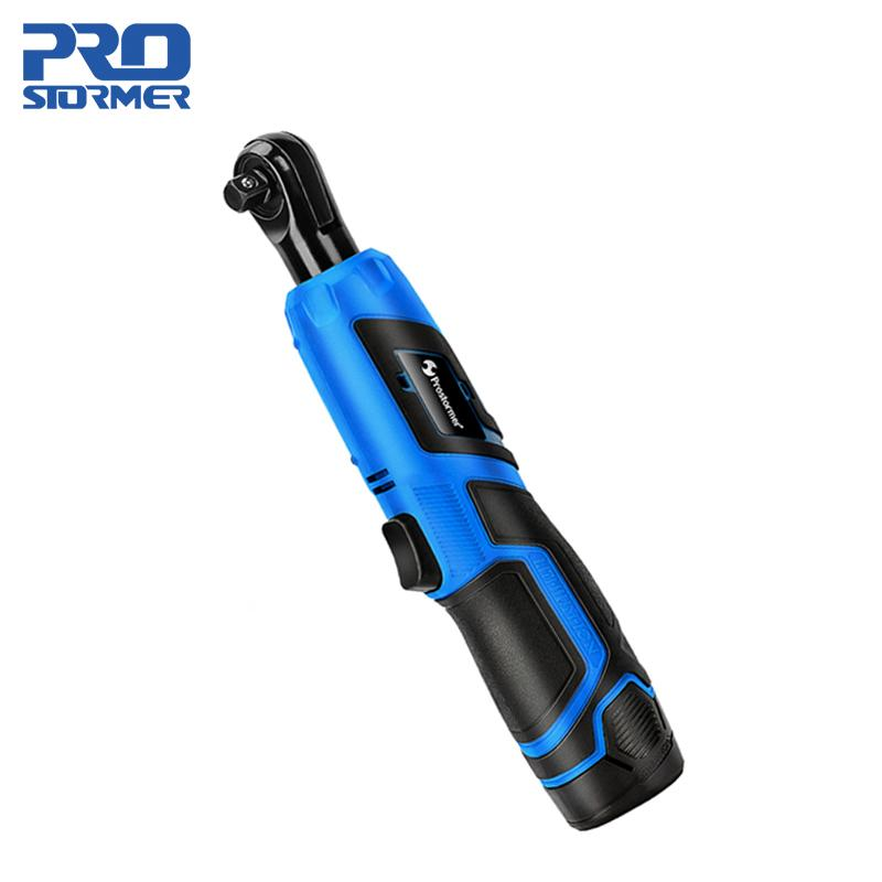 PROSTORMER 12V Electric Wrench Angle Drill Screwdriver 3/8 Cordless Ratchet Wrench Scaffolding 40NM With Screwdriver Bits Socket