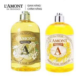 Combo Sữa tắm Almond (hương hạnh nhân) 500ml và Sữa tắm Mimosa (hương hoa mimosa) 500ml - L amont En Provence thumbnail