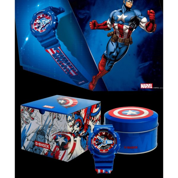 Đồng hồ Casio G-Shock Avengers Marvel x Captain American GA-110 - Đồng hồ thể thao G Shock Nam Phiên Bản Giới Hạn - Đồng Hồ Casio bán chạy
