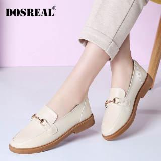 DOSREAL Giày Đế Bằng Cho Nữ Giày Da Thật Phong Cách Hàn Quốc Giày Lười Nữ Oxford Màu Đen Giày Đế Bằng Nữ