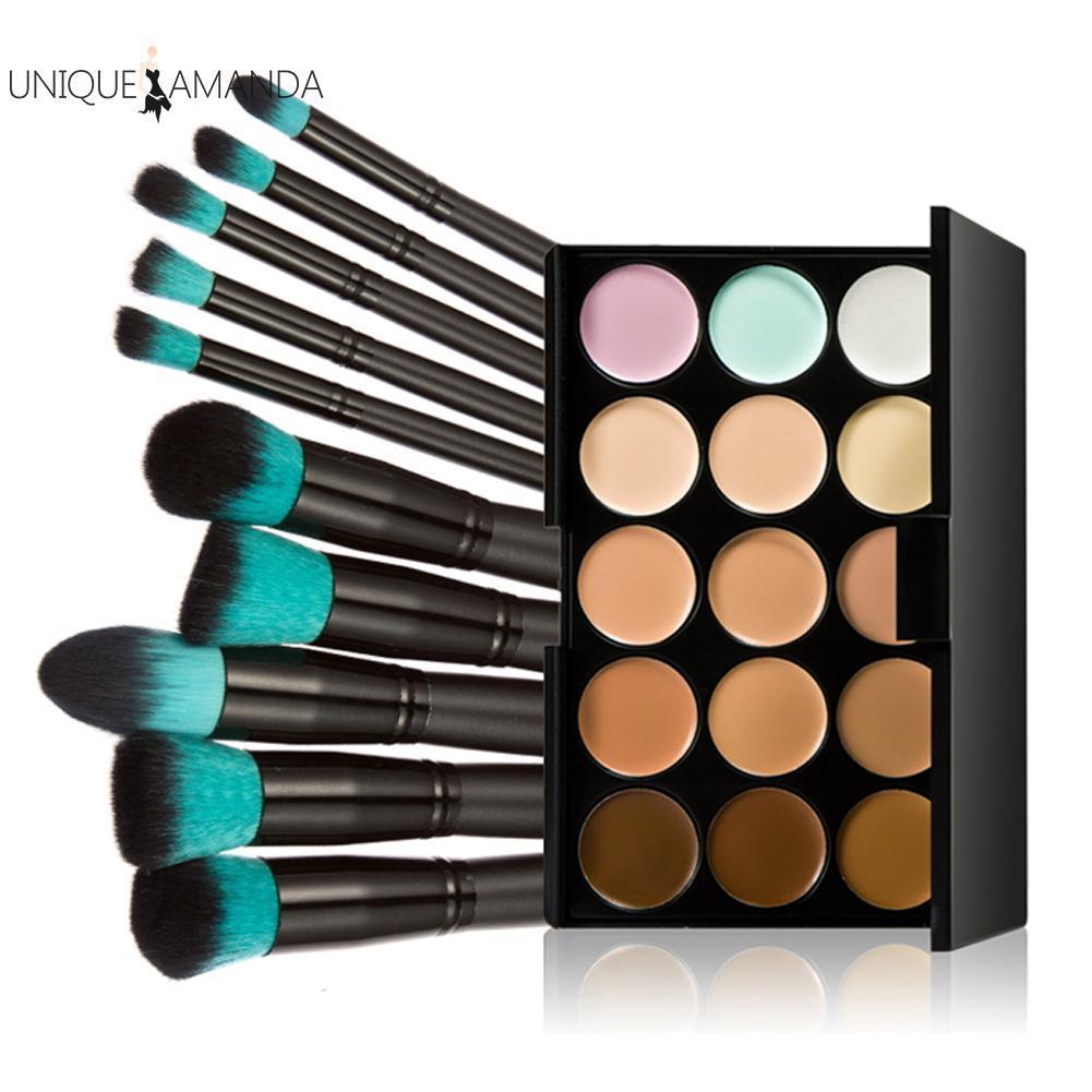 New 15 Colors Pro Makeup Concealer Cream Cosmetic Palette 10pcs Brush Tool - Intl