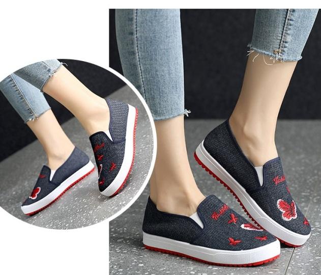 Giày slip on nữ họa tiết dễ thương cá tính giá rẻ