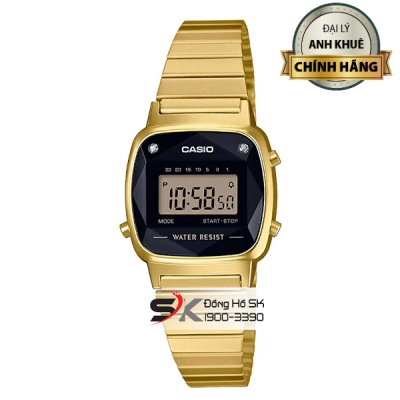 Đồng Hồ Casio Nữ LA670WGAD-1DF Mặt Đen Đính Kim Cương Dây Vàng Chính Hãng Casio Anh Khuê