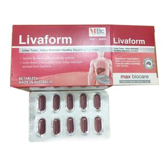 Livaform - Hỗ trợ tăng cường chức năng giải độc gan của Úc hộp 60 viên thumbnail