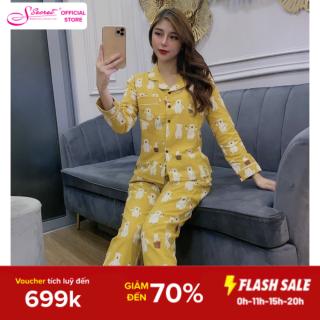 Bộ đồ ngủ dài tay chất liệu cà bông cực chất ĐẸP MÊM LY- MỀM-THẤM HÚT MỒ HÔI TỐT - cổ áo pyjama thumbnail