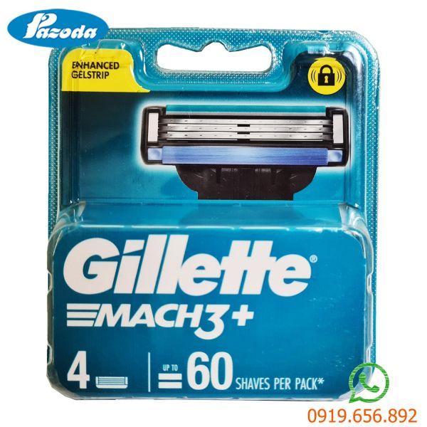 Hộp 4 lưỡi dao cạo râu Gillette Mach 3 ( đầu cạo 3 lưỡi kép)