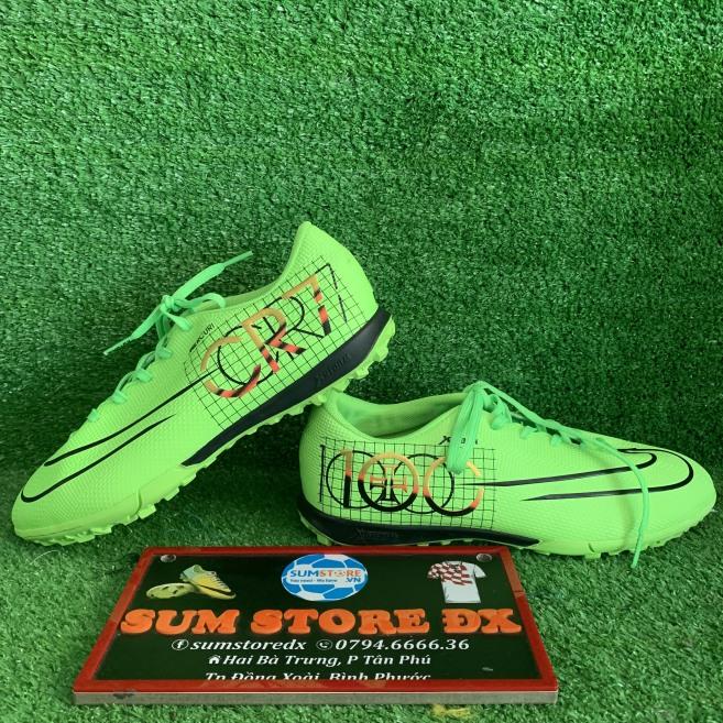 Giày Bóng Đá Nữ Nam Thể Thao X-S CR7 100 Lá Đen- Giày Bóng Đá TF Cao Cấp giá rẻ