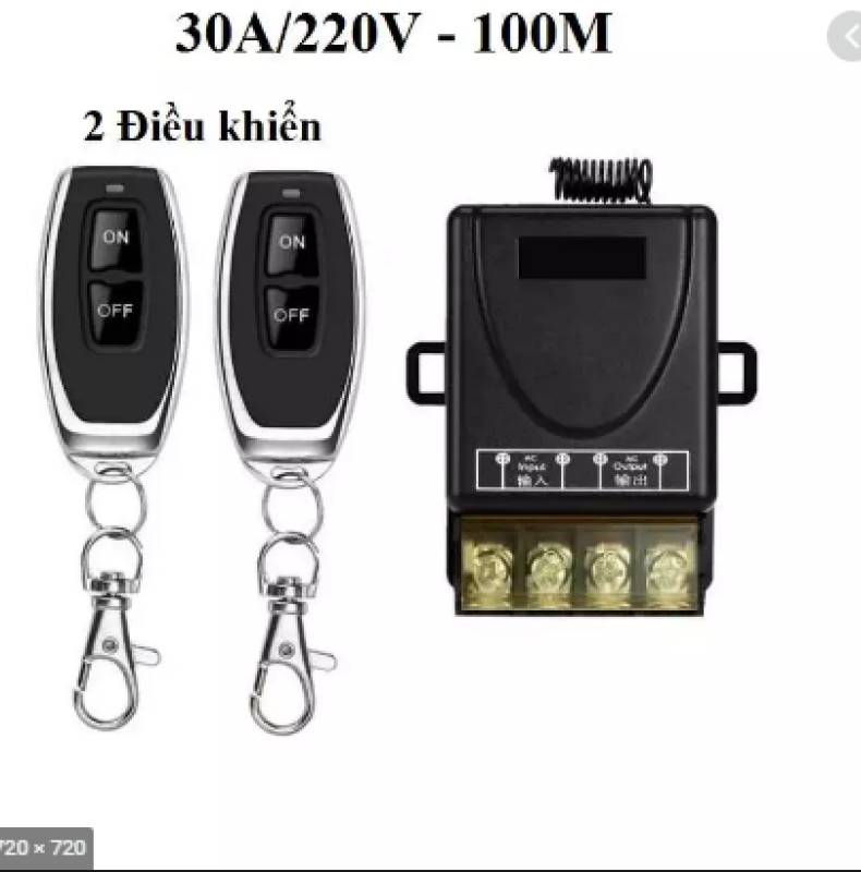 Bộ công tắc điều khiển từ xa 100M SMH-2 bật tắt thiết bị điện công suất lớn 30A/220V (Đen, 2 điều khiển)
