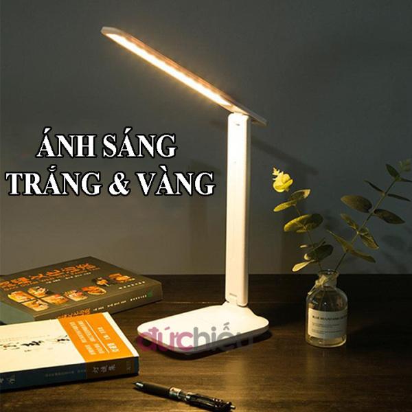 [ Video sản phẩm thật ] Đèn học để bàn cảm ứng kết hợp ánh sáng trắng và vàng có giá đỡ điện thoại, đèn bàn học sinh chống cận thị | Đức Hiếu Shop
