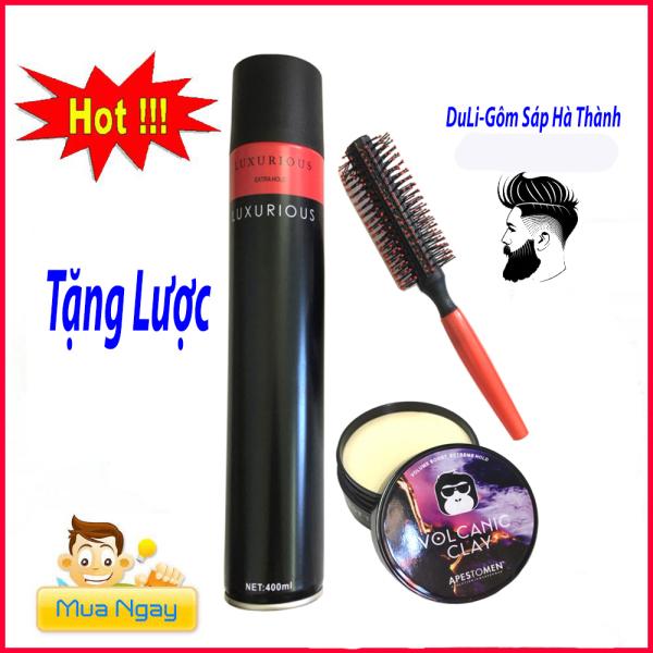 [TẶNG LƯỢC]COMBO gôm xịt tóc LUXURIOUS 420ml + Sáp Vuốt Tóc VOCALIC ClAY (TẶNG LƯỢC)