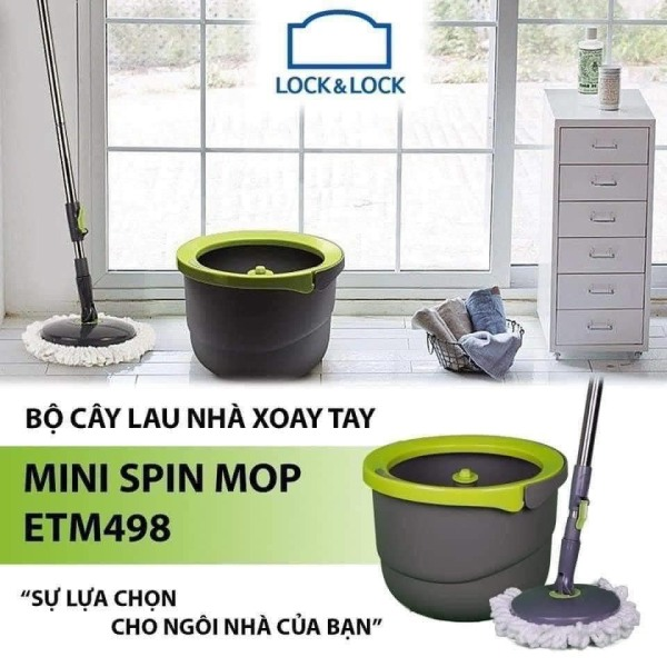 Bộ cây lau nhà xoay tay 2 Bông Lau Lock&Lock Corner ETM498 Thân inox chắc chắn Thùng nhựa PP cao cấp