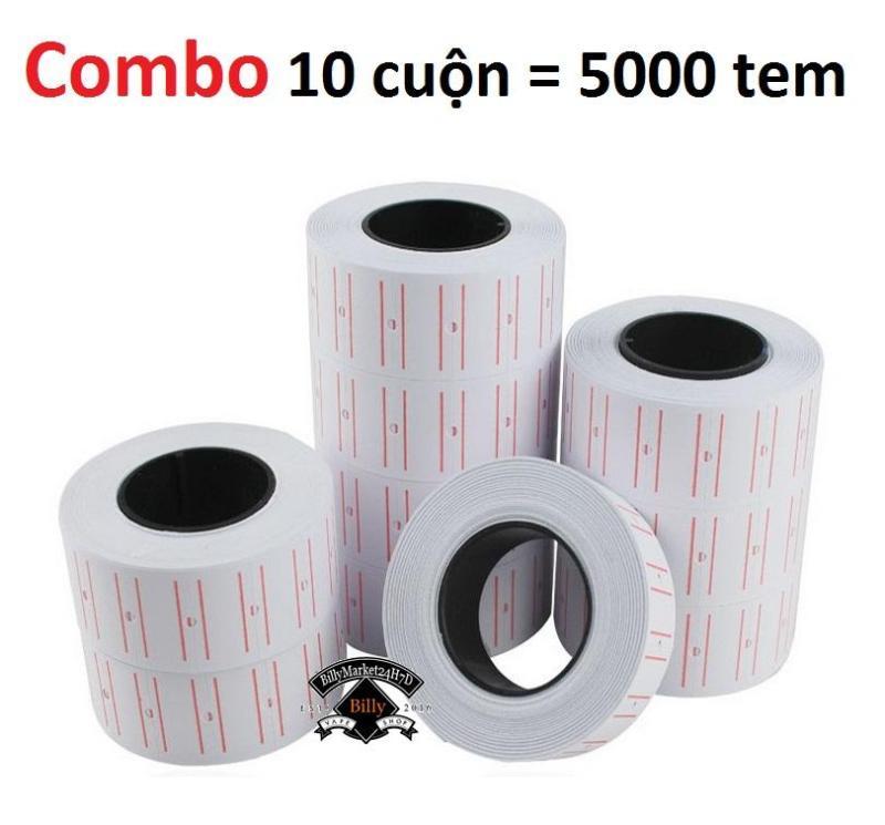 Mua Combo bộ 10 cuộn giấy bắn dán giá tiền 5000 tem giá cho dụng cụ máy bắn dán giá tiền CROWN MX5500, EOS-5500….
