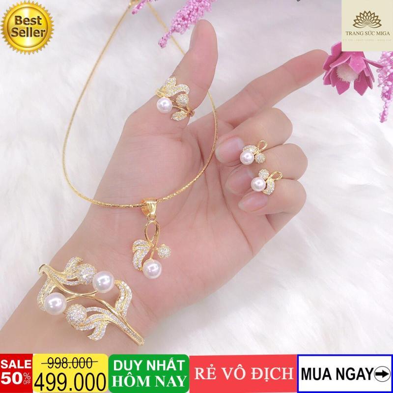 Bộ trang sức bi trắng uốn nhỏ tinh xảo sang trọng thời thượng Trang Sức Miga VB401091957 - đeo đi đám cưới vô cùng quý phái