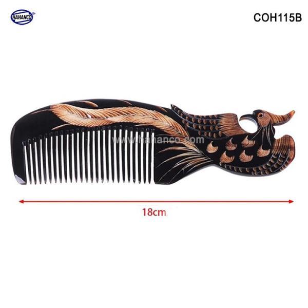 Lược sừng đen hình Phượng - COH115B (Size: L - 18cm)  Quà tặng rất đẹp - Horn Comb of HAHANCO - Chăm sóc tóc nhập khẩu