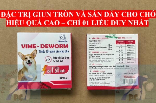 Vime Deworm dạng viên tiêu diệt và phòng giun sán cho chó (chỉ 1 liều)