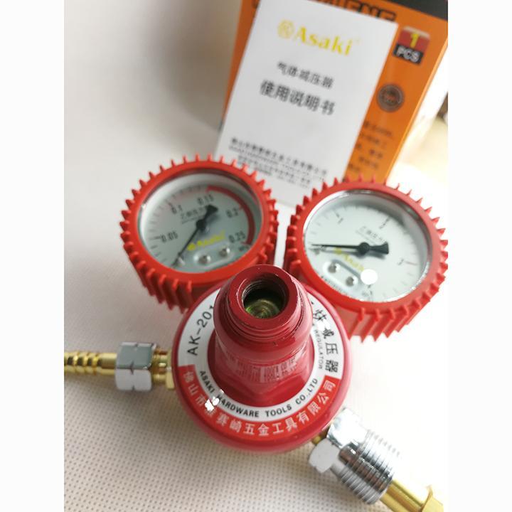 Đồng hồ điều áp Acetylene màu đỏ Asaki AK-2011