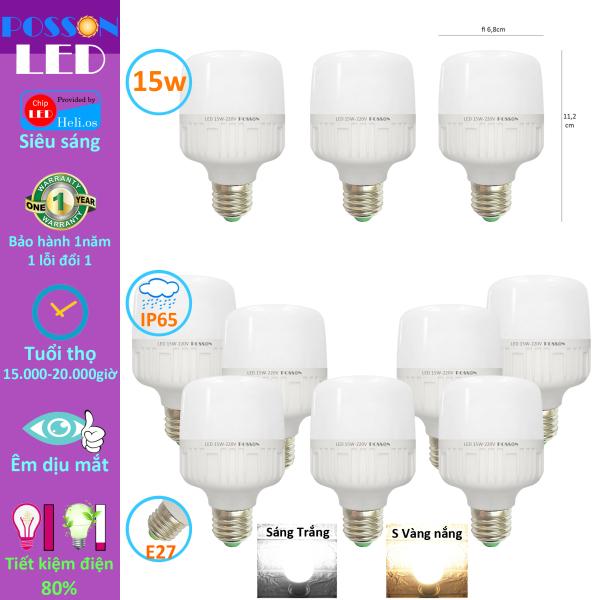 Bảng giá 10 Bóng đèn Led trụ 15w bup trụ bulb tiết kiệm điện kín chống nước Posson LC-15x