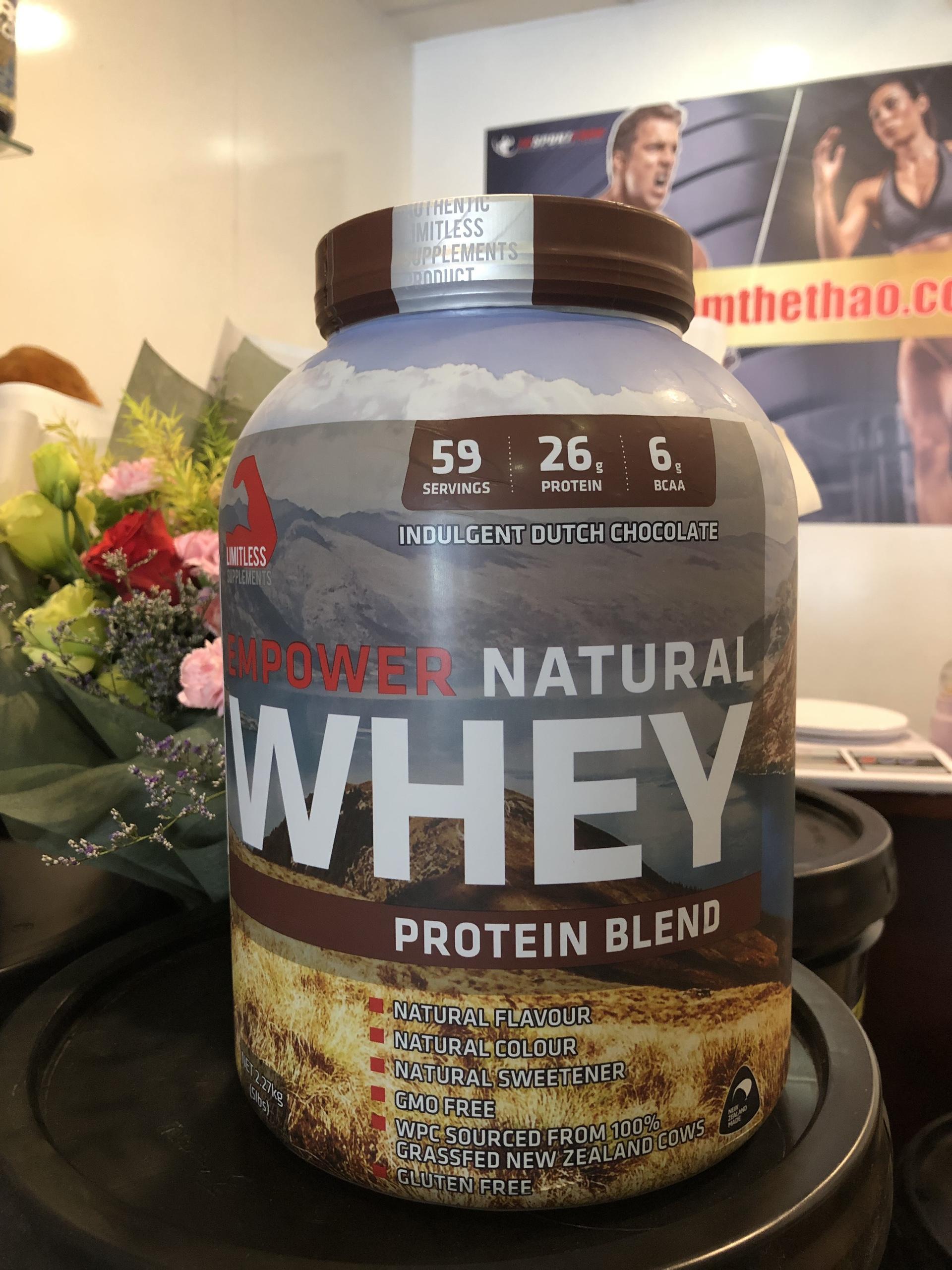 Sữa Tăng cơ EMPOWER NATURAL WHEY 5LBS ( 2.27kg) vị chocolate - TẶNG 20 SAMPLE WHEY MASS NGẪU NHIÊN cao cấp