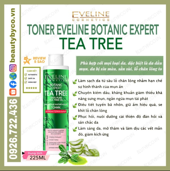 Toner Eveline Tea Tree Botanic Expert giảm sưng,gom cồi,ngừa mụn,phục hồi da