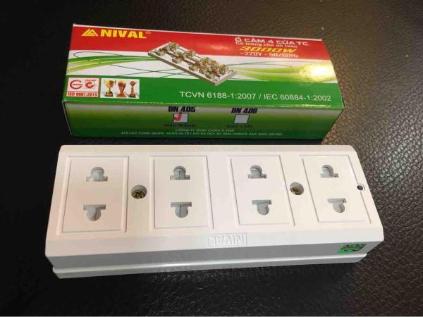 [Nhập ELMAY21 giảm 10% tối đa 200k đơn từ 99k]Ổ cắm điện Nival có màng che 4ổ cắm