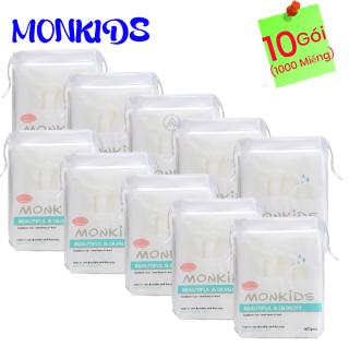 COMBO 10 gói bông tẩy trang 100% cotton 3 lớp mềm mịn thấm hút cực tốt 1000 miếng BTT04AZ - Thương Hiệu MONKIDS thumbnail