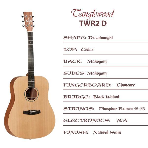 [Chính hãng] Đàn Guitar Acoustic Tanglewood TWR2D – Tanglewood Roadster 2 Dreadnought Acoustic Guitar