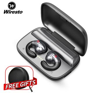 Tai nghe không dây bluetooth 5.0 Wiresto, tai nghe nhạc thể thao có móc sau tai kèm hộp sạc - INTL thumbnail