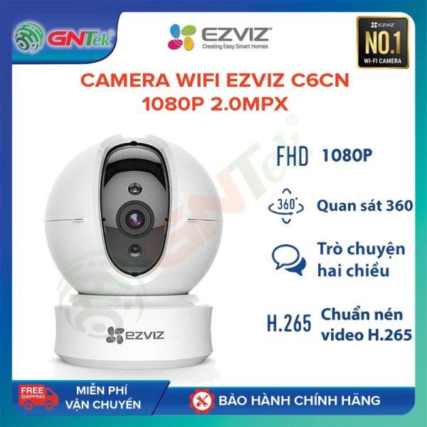 [TẶNG MGG 50K ] Camera IP wifi Ezviz C6CN 1080p 2MPX lưu trữ H.265 nhận dạng người và xe, đàm thoại 2 chiều báo động chống trộm CCTV – Bảo hành chính hãng 24 tháng - Tặng 1 tuần dùng thử cloud