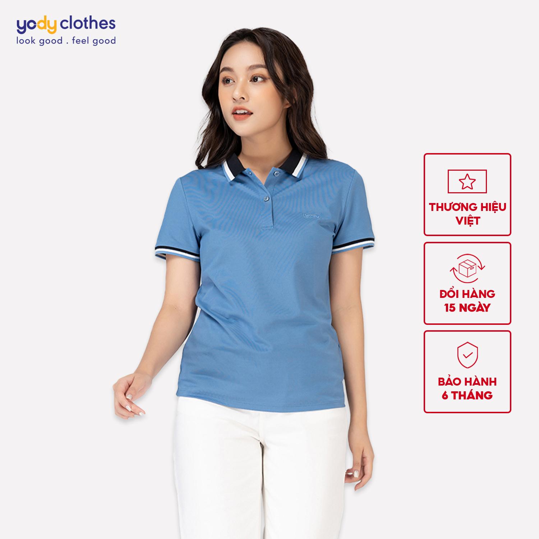 Áo phông Polo nữ mắt chim phối bo 01 YODY, áo thun nữ cao cấp ngắn tay có cổ chất liệu cotton thoáng mát APN3704