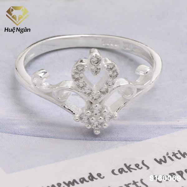 Nhẫn nữ trang sức bạc Ý 925 Huệ Ngân - Vương miện trái tim S160069 (size12)